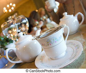 Elegant china at traditional English high tea