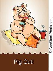English idiom pig out illustration
