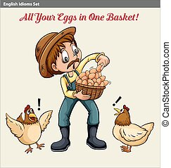 English idiom showing a farmer holding a baske of eggs
