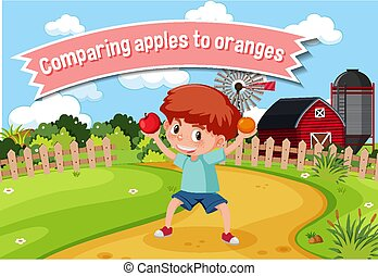 English idiom with picture description for comparing apples to oranges