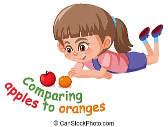 English idiom with picture description for comparing apples to oranges on white background