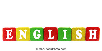 english - isolated text in wooden building blocks