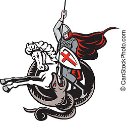English Knight Fighting Dragon England Flag Retro -...