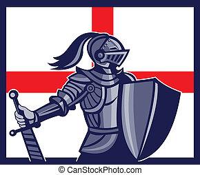 English Knight Holding Sword England Flag Retro