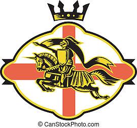 English Knight Riding Horse Lance Retro - Illustration of an...