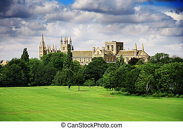 English landscape with catherdral and park