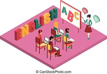 English Language Class Primitive Bright Colors 3d Design ...
