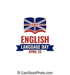English language day banner vector image. Text with national...