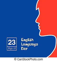 English Language Day on 23 April with speaking women vector