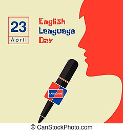 English Language Day with speaking women on microphone ...