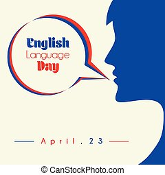 English Language Day with speaking women vector