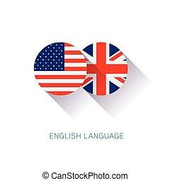 English Language icon USA UK flags