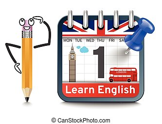 English language lessons with calendar concept - English ...