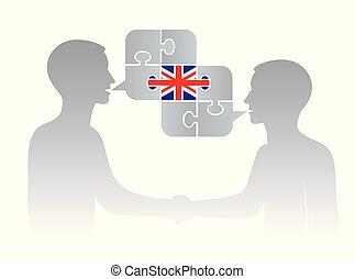 English language of business. - Illustration of two ...