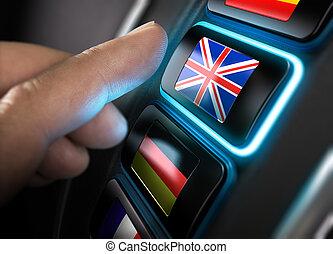 English Language - Finger about to press an english...