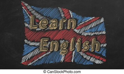 Hand drawing and animated british flag with text LEARN ENGLISH on blackboard. Stop motion animation.