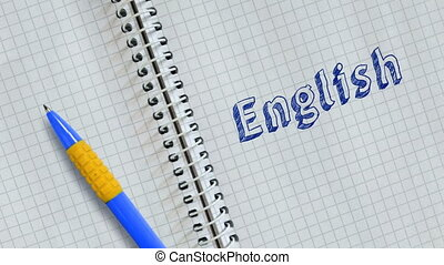 Lettering English on sheet of notebook and animated.