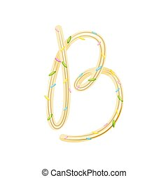 English letter B in a spiral candy. Vector illustration on white background.