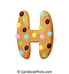 English letter H in the form of a cupcake. Vector illustration on white background.