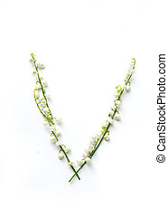 English letter V in the alphabet of flowers bells. Calligraphy lettering