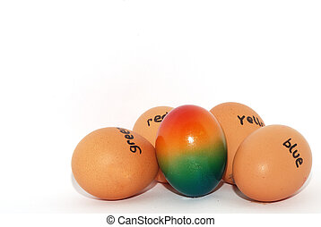 english lettered eggs for easter colorful