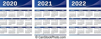English modern techno calendar for years 2020-2021-2022 vector text is outline