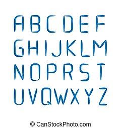 English modern letters set over black