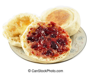 english muffins with jelly on white background