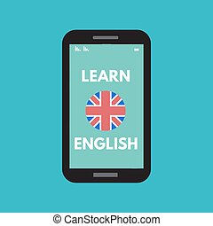 Learn english smartphone  Bright flat vector banners with