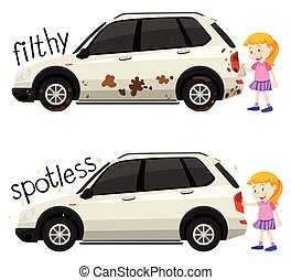 English opposite word filthy and spotless illustration