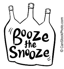 English phrase for booze the snooze illustration