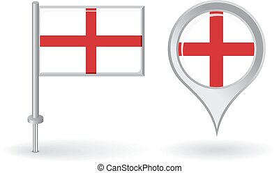 English pin icon and map pointer flag. Vector illustration.