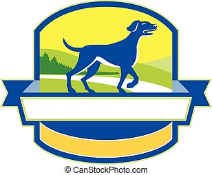 English Pointer Dog Pointing Up Crest Retro