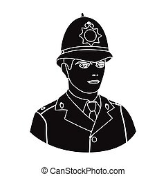 English policeman icon in black style isolated on white background. England country symbol stock vector illustration.