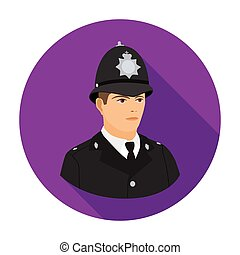 English policeman icon in flat style isolated on white background. England country symbol stock vector illustration.