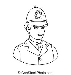 English policeman icon in outline style isolated on white background. England country symbol stock vector illustration.