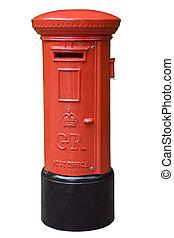 English post box isolated on white