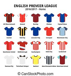 English Premier League 2016 2017 - Vector icons set of sport...