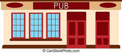 English pub bar icon. Facade of building. Vector flat illustration