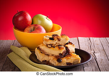 English Pudding - Portion of traditional English bread and...