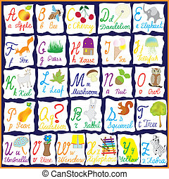 English rainbow alphabet with letters,words and pictures...