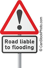English road sing - Road flooding - Vector illustration of...