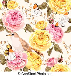 English roses and birds seamless - Vintage english roses and...
