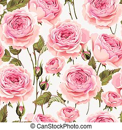 English roses seamless - Vintage gentle english roses vector...