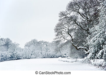 English rural countryside Winter snow landscape
