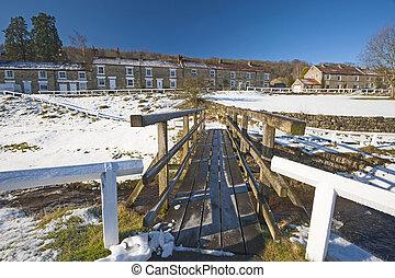 English rural village landscape in the winter