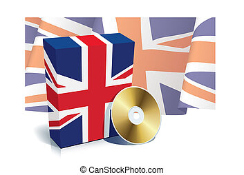 English software box with national flag and CD, vector illustration.