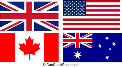 English speaking countries flags - flags of the main English...
