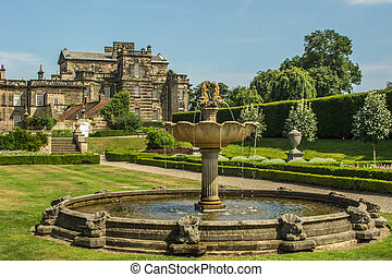 English Stately Home And Garden With Fountain