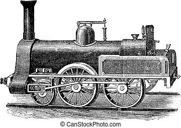 English Steam Locomotive, vintage engraving